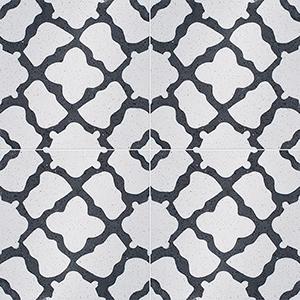 Black, White Polished Capella Cement Tiles 20x20