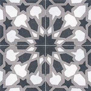 Black, White, Gray Polished Arietta Cement Tiles 20x20