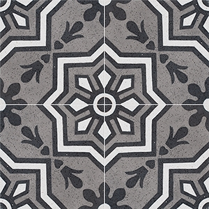 Black, White, Gray Polished Bel Canto Cement Tiles 20x20