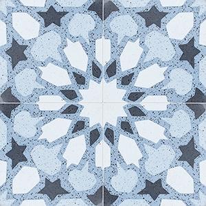 Blue, Light Blue, Dark Blue, Black Polished Arietta Cement Tiles 20x20