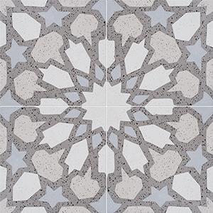 Brown, Light Brown, Beige, Gray Polished Arietta Cement Tiles 20x20
