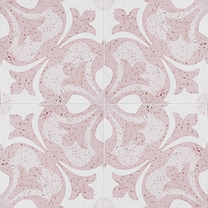 Pink, Light Pink, Beige Polished Andante Cement Tiles 20x20