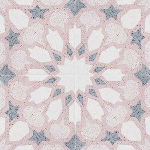 Pink, Light Pink, Beige, Gray Polished Arietta Cement Tiles 20x20