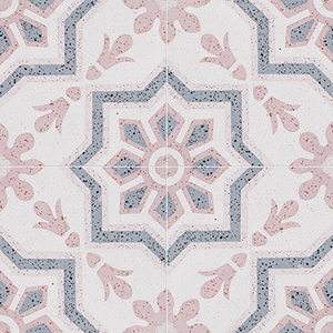 Pink, Light Pink, Beige, Gray Polished Bel Canto Cement Tiles 20x20