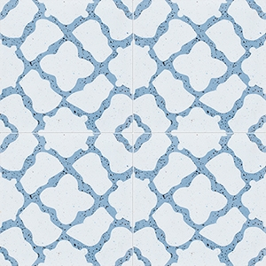 Blue, Light Blue Polished Capella Cement Tiles 20x20