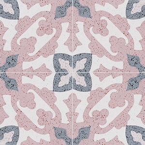 Pink, Light Pink, Beige, Gray Polished Presto Cement Tiles 20x20