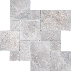 New Silver Shadow Tumbled Marble Pavers Versailles Pattern