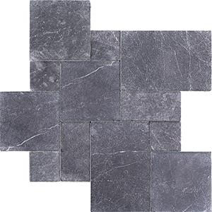 Iris Black Tumbled Marble Pavers Versailles Pattern