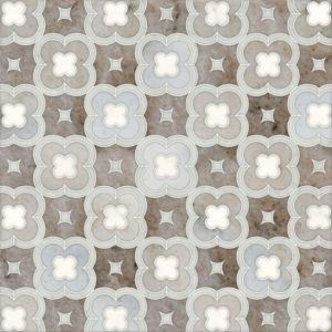 Avenza Light, Dolomite, Palisandra Multi Finish Damascus Marble Waterjet Decos 27,94x27,94