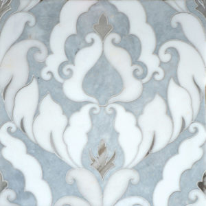 Afyon Grey, Afyon White, Palisandra Multi Finish Rumi Marble Waterjet Decos 34,44x45,7