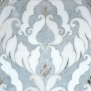 Afyon Grey, Afyon White, Palisandra Multi Finish Rumi Marble Waterjet Decos 34,44x45,7