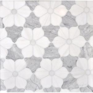 Afyon White, Avenza Dark, Dolomite Multi Finish Theodora Marble Waterjet Decos 30,81x35,56