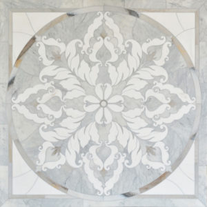 Avenza Light, Skyline, Snow White Multi Finish Rumi Marble Medallions 122x122