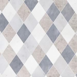 Aspen White, Silver Shadow, Glacier, All Multi Finish Almas Marble Waterjet Decos 23,65x26,6