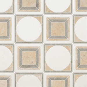 Champagne, Seashell, Olive Green Multi Finish Cicero Limestone Waterjet Decos 30,5x30,5