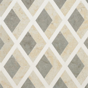 Champagne, Seashell, Olive Green Multi Finish Hippodrome Limestone Waterjet Decos 27,14x28,73