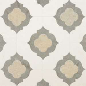Champagne, Seashell, Olive Green Multi Finish Irene Limestone Waterjet Decos 28,94x28,94