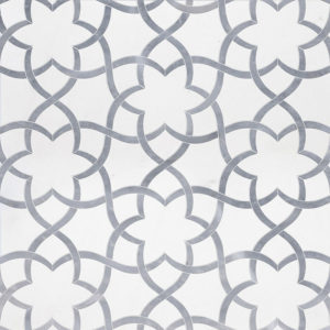 Aspen White, Allure Light Polished Isidore Marble Waterjet Decos 31,68x36,56