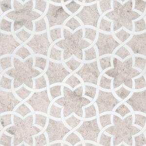 Silver Shadow, Aspen White Multi Finish Isidore Marble Waterjet Decos 31,68x36,56