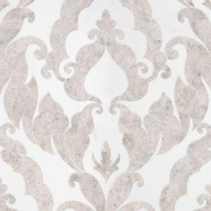 Silver Shadow, Aspen White Multi Finish Rumi Marble Waterjet Decos