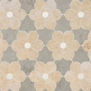Champagne, Seashell, Olive Green Multi Finish Theodora Limestone Waterjet Decos 30,81x35,56