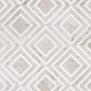 Aspen White, Silver Shadow Multi Finish Yildiz Marble Waterjet Decos 22,38x27,94
