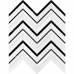 Black, Snow White Honed Chevron Fusion Marble Mosaics 30,2x40,6