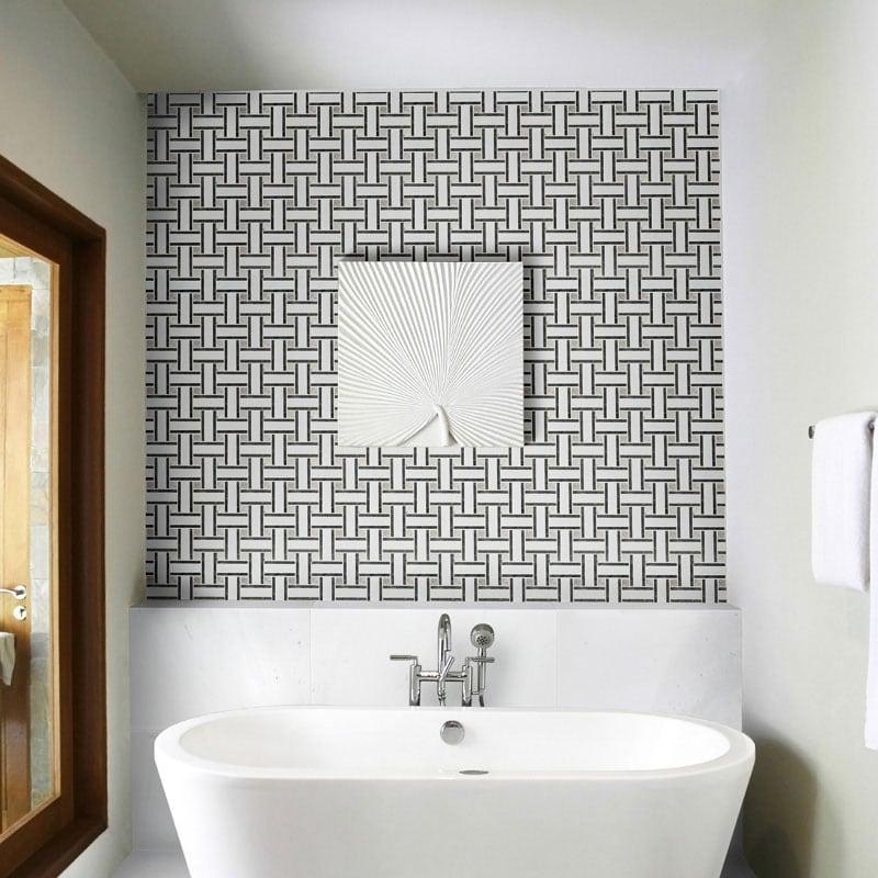 Aspen White Honed Lattice Marble Mosaics