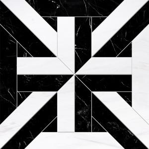 Snow White, Black Honed Rubicon Marble Waterjet Decos 43,18x43,18