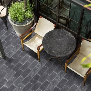 Iris Black Brushed Marble Pavers 15,2x30,5