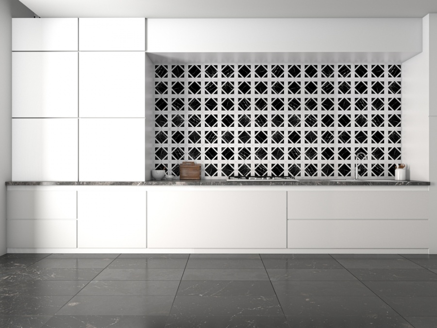 siyah beyaz mermer mutfak tasarımı